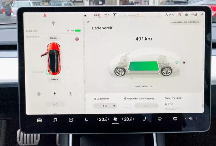 Tesla Model 3 mit bis zu 25% Ladeverlust