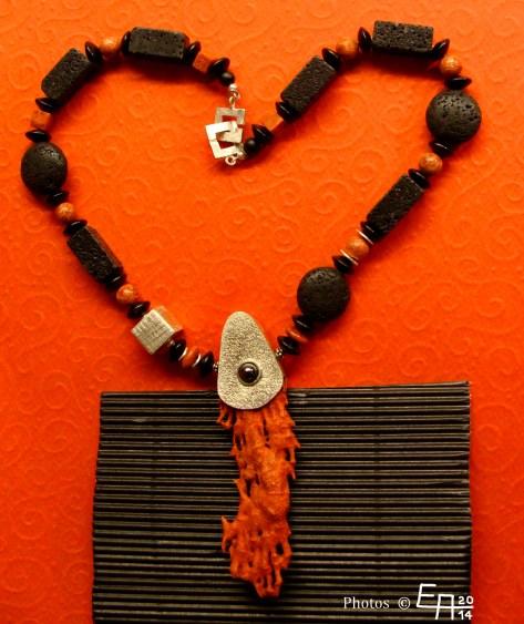 lava, foam coral, necklace