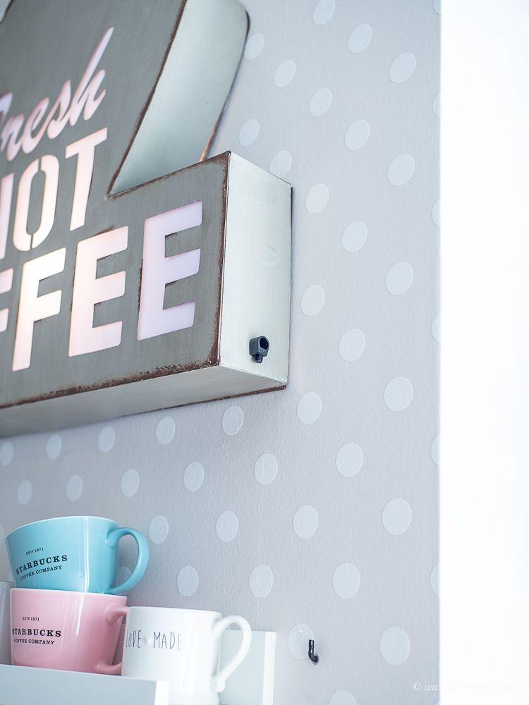 Neugestaltung meiner Kaffee-Ecke mit Möbel Wikinger Leipzig - Dekobeleuchtung für die Ikea Landhausküche!