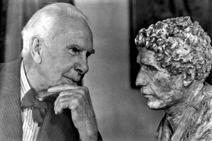 Dreiser with bust of John Cowper Powys, Hollywood ca. 1942