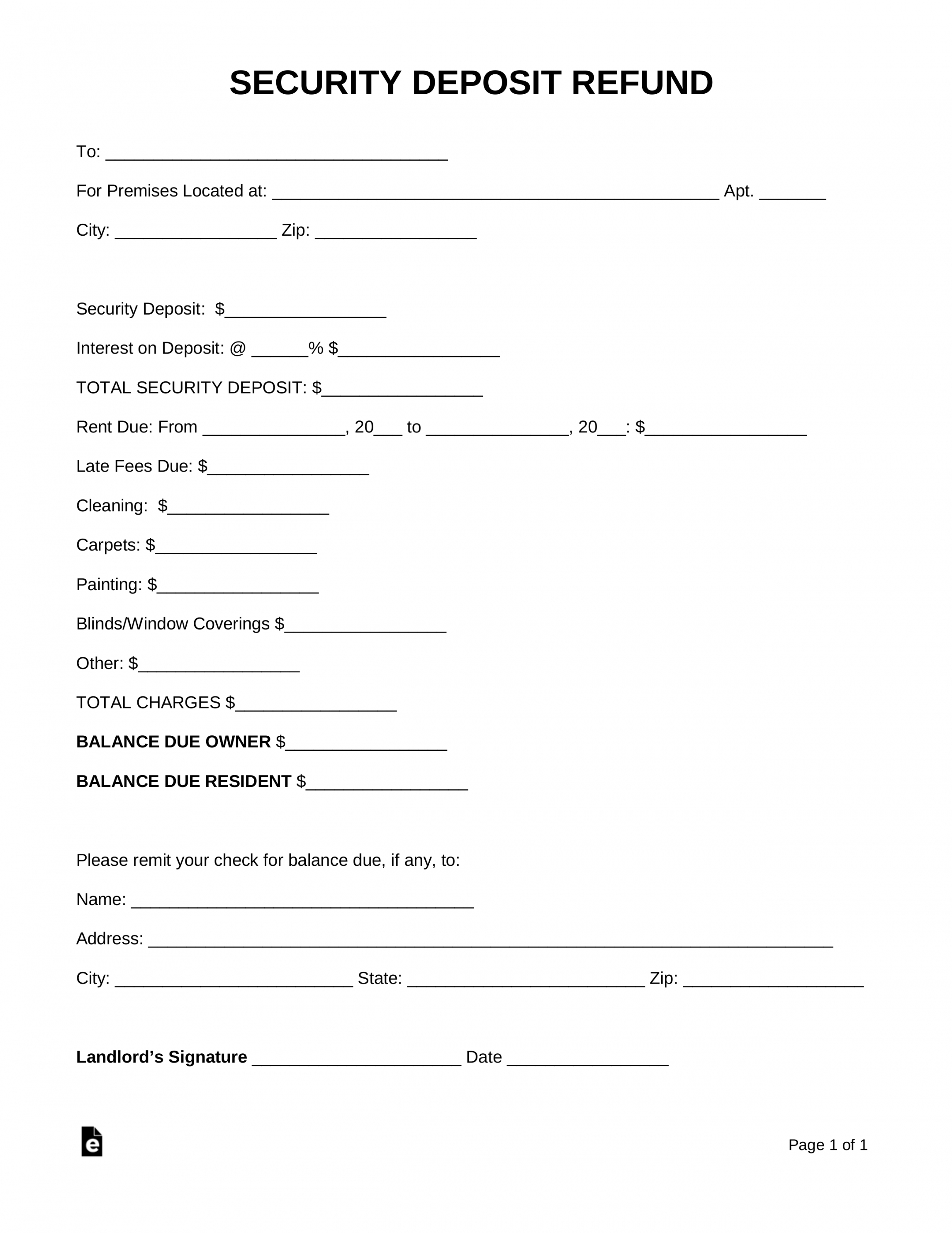 Request For Return Of Security Deposit Form