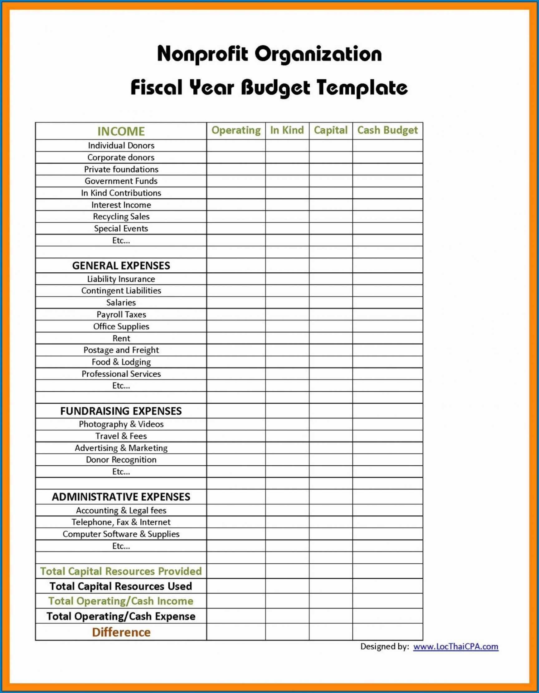 Budget Template For Non Profit Organisation