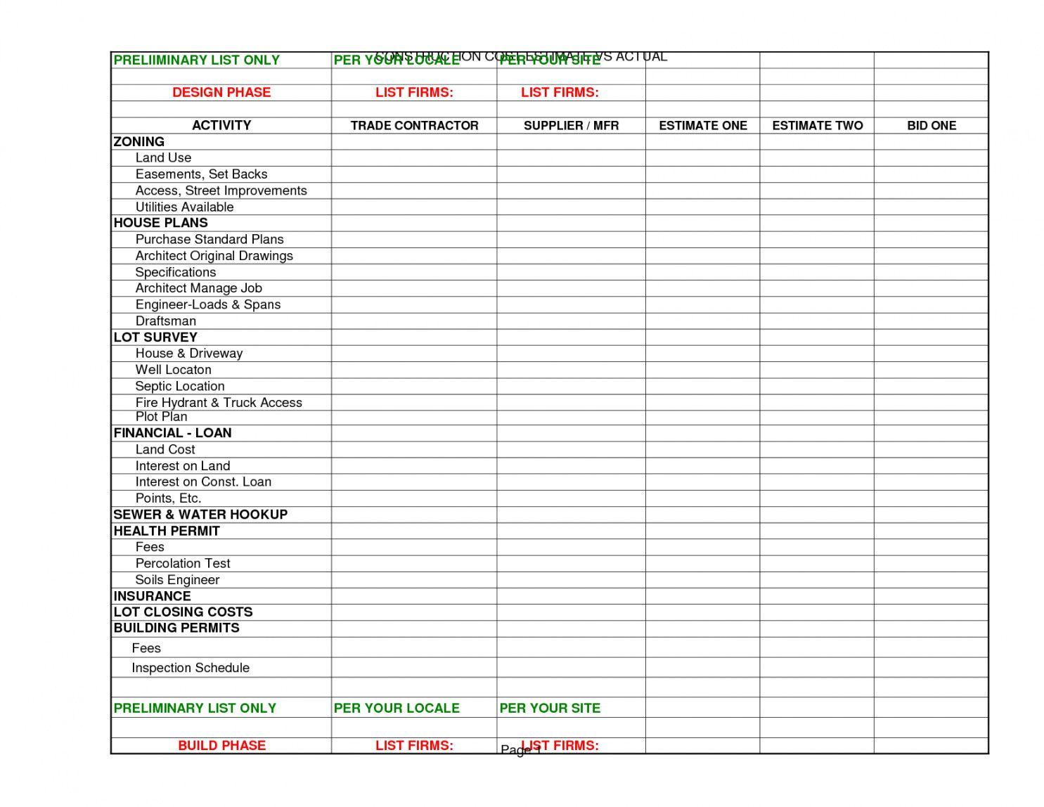 Sample Interior Design Project Spreadsheet Excel Worksheet