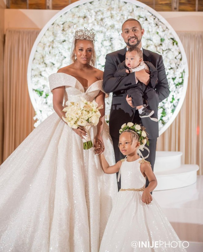 eva marcille and todd sterling with son todd jr. and daughter, marley rae at their wedding