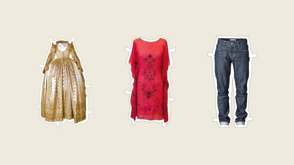 Ein Kleid aus der Rennaissance und ein Entwurf von Dorothea Michalk und eine Bluejeans von Ruttloff Denim