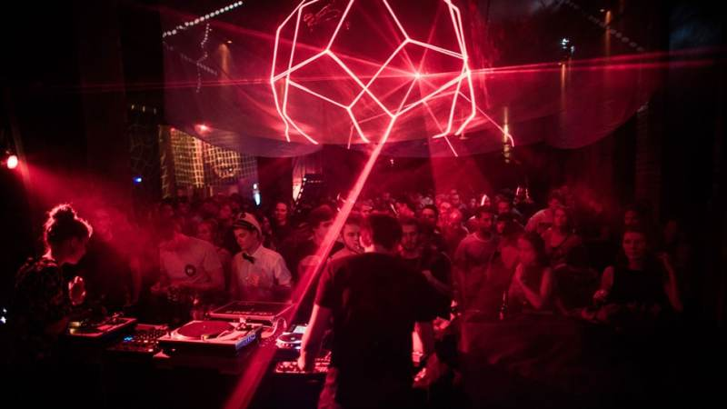 People celebrate in a Club in Dresden