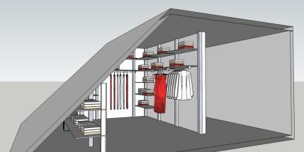 Moderne inloopkast op maat onder een schuin dak.