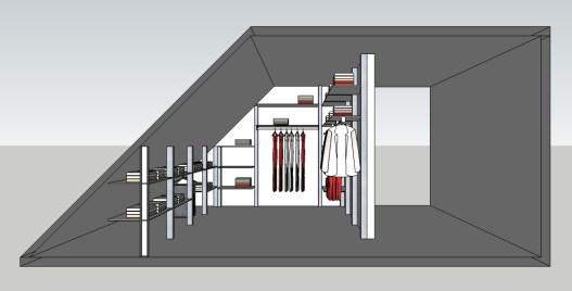 Ontwerp voor een inloopkast onder een schuin dak.