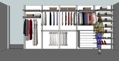 Open dressing ontwerp voor een lange wand.