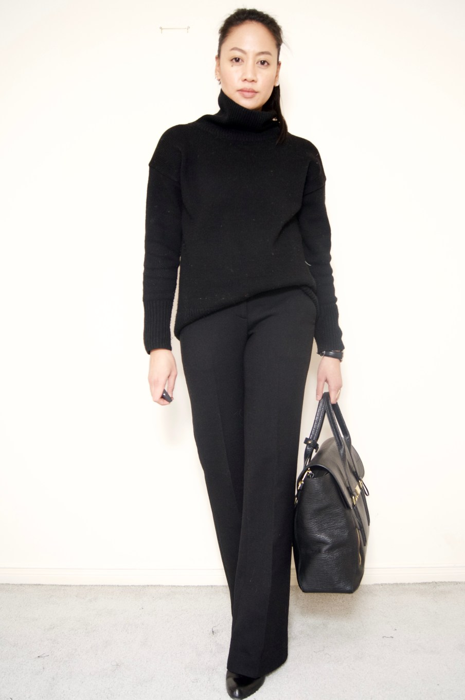 Black chunky turtleneck + Black trousers