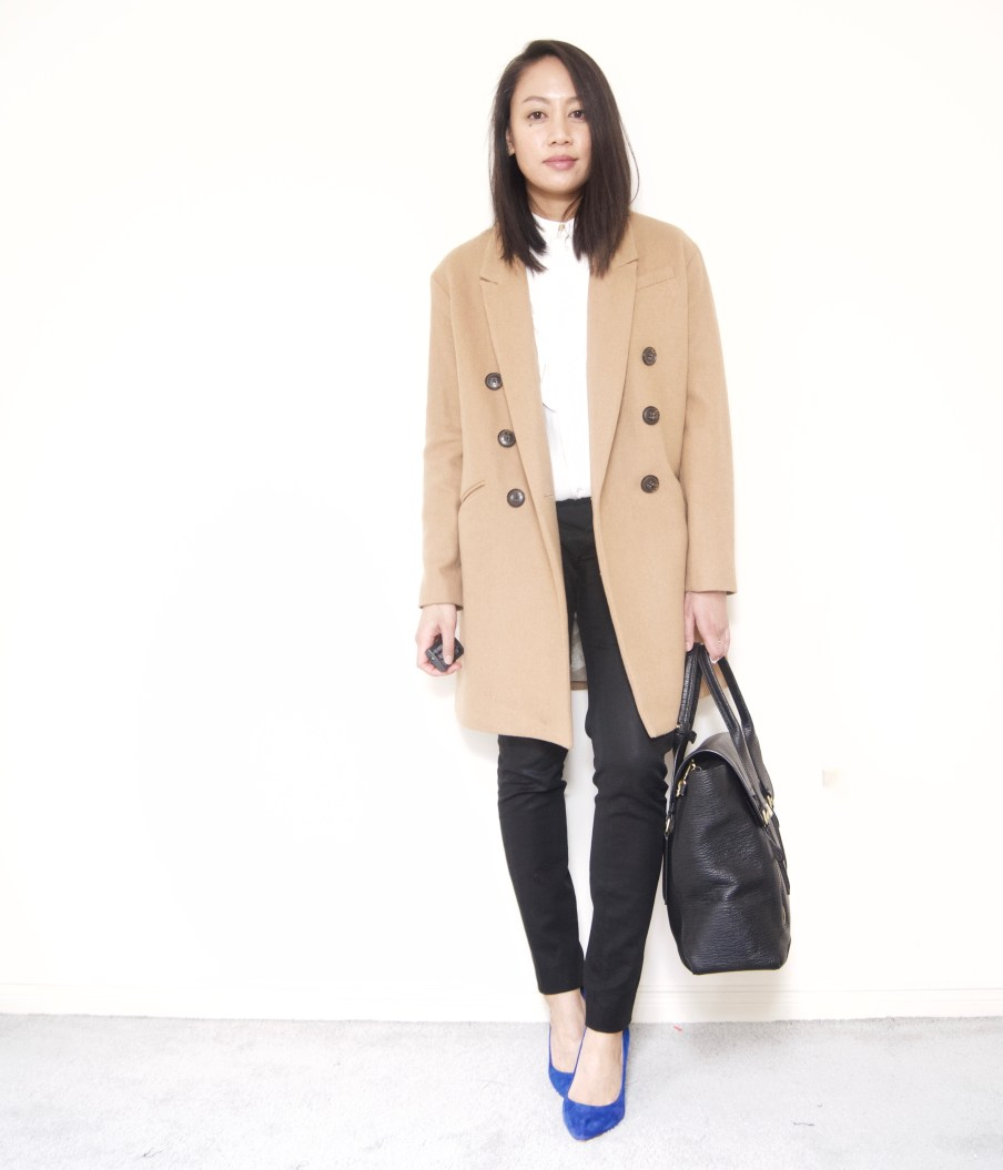 Pleated blouse + Skinny Pants + Boyfriend Coat