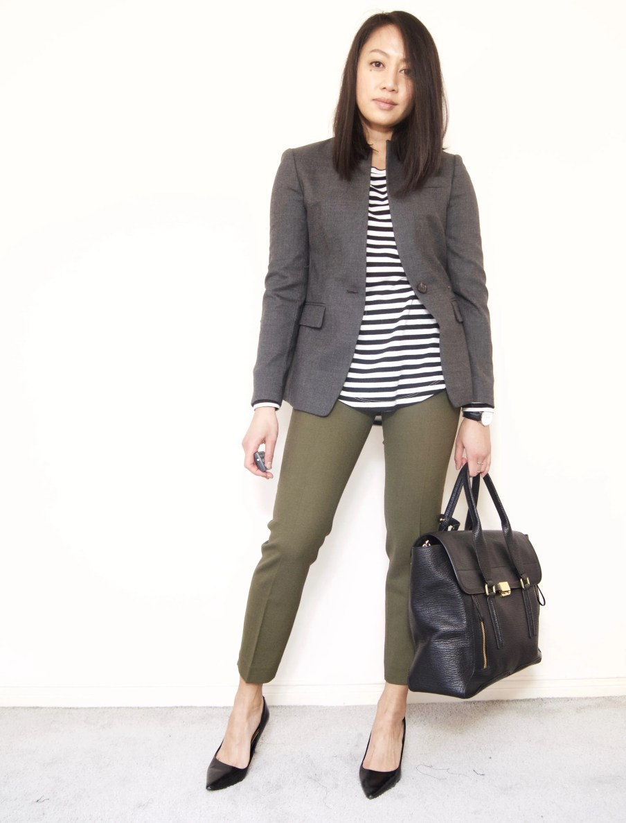 DRESSED ACCORDINGLY BLOG // Blazer + Stripe Tee + Olive Cropped Pants