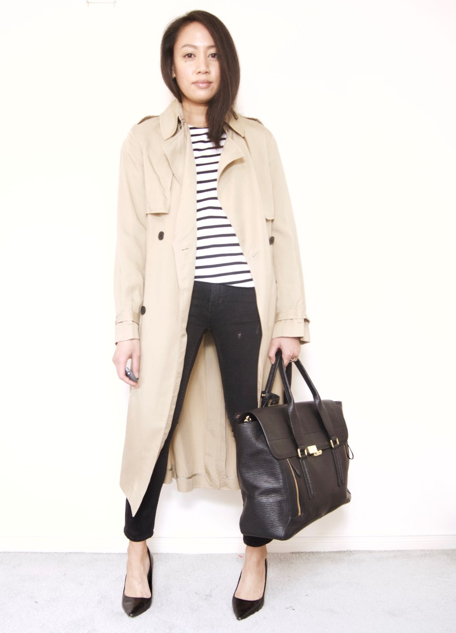 Long Trench Coat + Stripes + Destroyed Denim