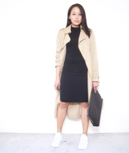 Sleeveless Mockneck + White Sneakers + Skirt + Long Trench