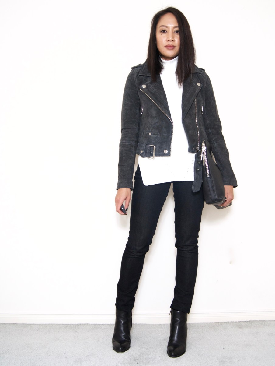 BLANKNYC Suede Jacket / Paige Black Jeans / Alexander Want Gabby Boots / 3.1 Phillip Lim 31 Minute Medium Clutch / Ann Taylor Sleeveless Turtleneck Tunic