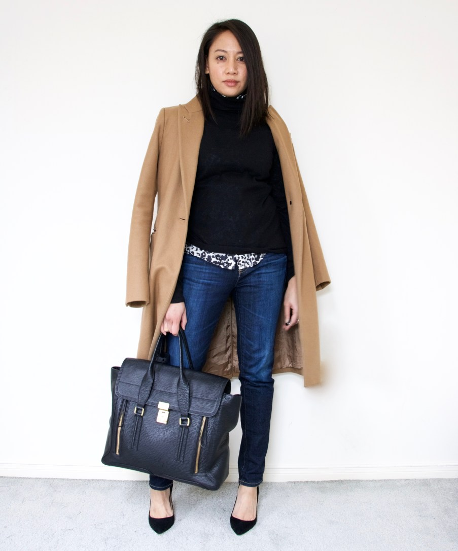 Camel Coat + Turtleneck + Relaxed Skinny + Suede Pumps