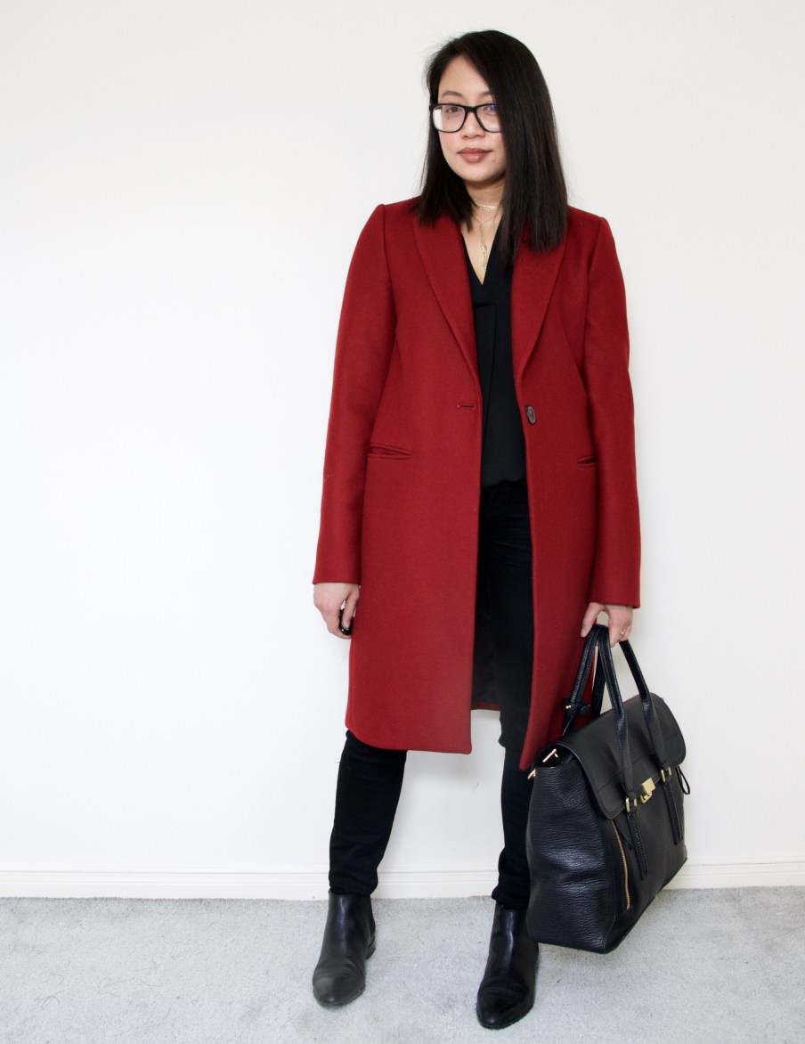 Wine Wool Coat + 3.1 Phillip Lim Pashli Satchel + Paige Black Denim + Chelsea Boots