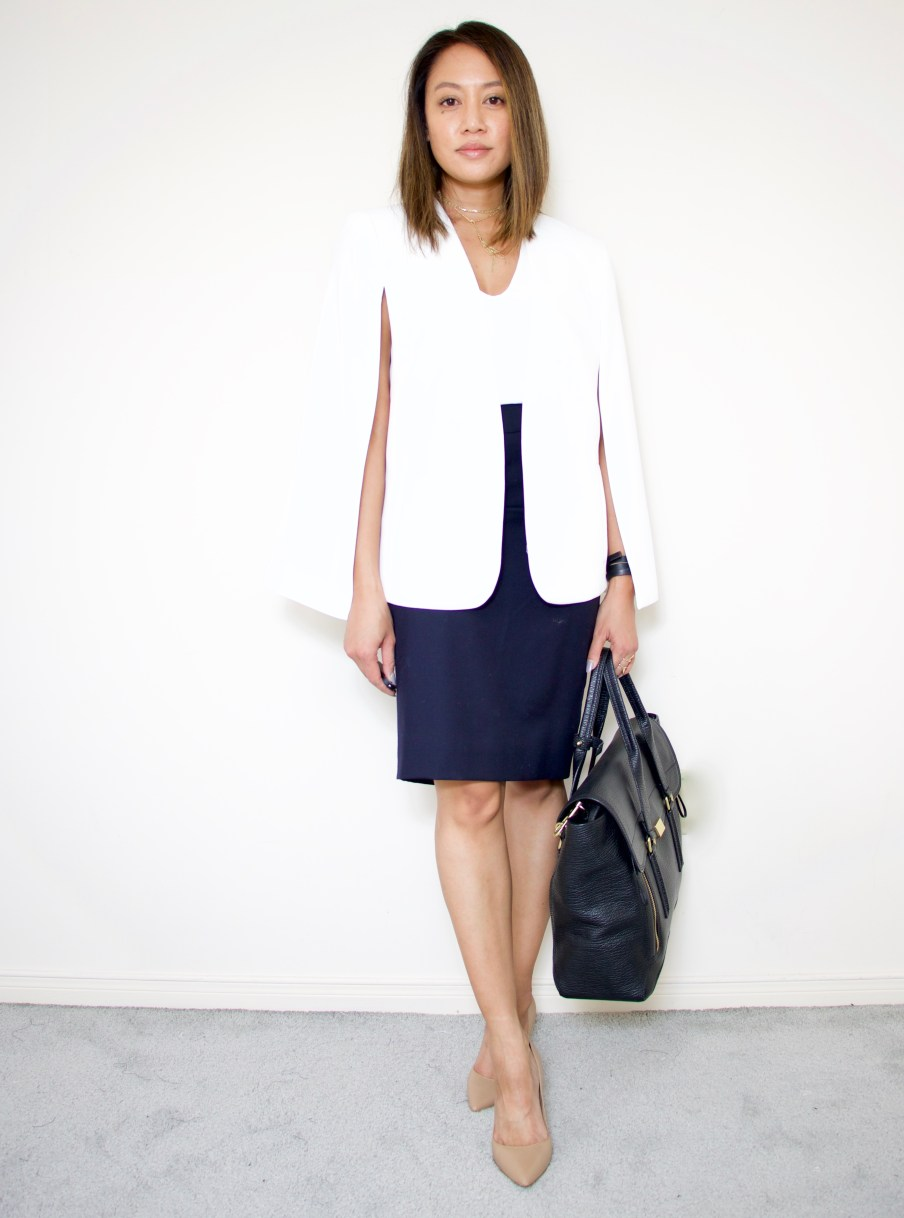 Cape Blazer + Navy Pencil Skirt + Nude Shoes