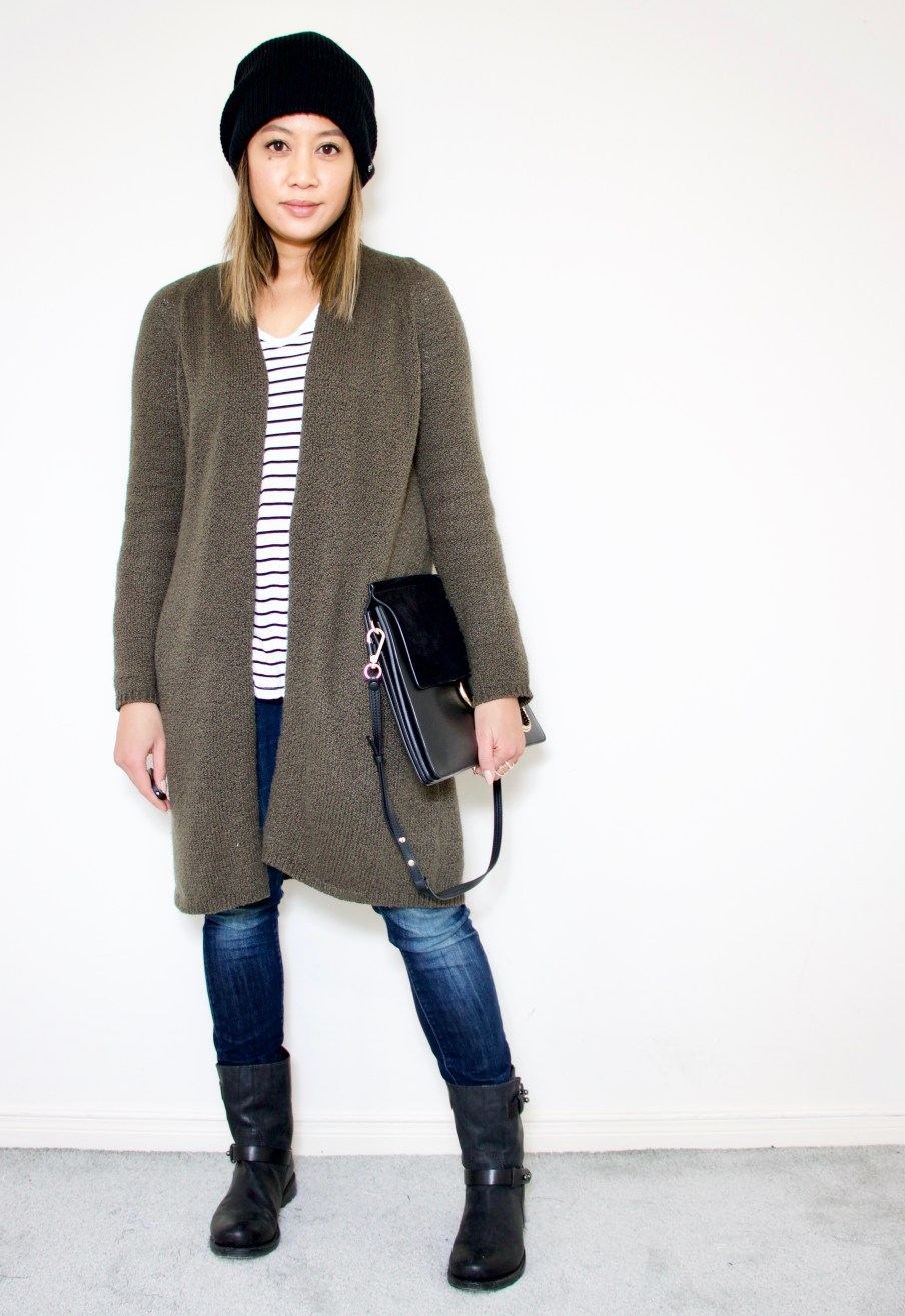Open cardigan + denim + striped tee + moto boots