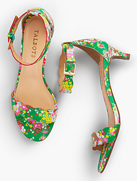 Heeled sandals look flirty and festive