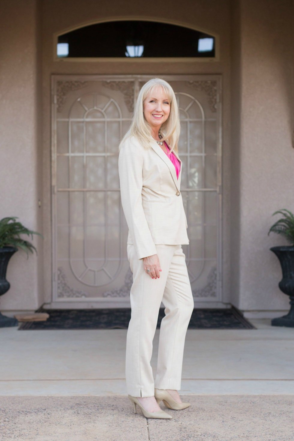 A khaki suit is perfect for the office in warmer months.