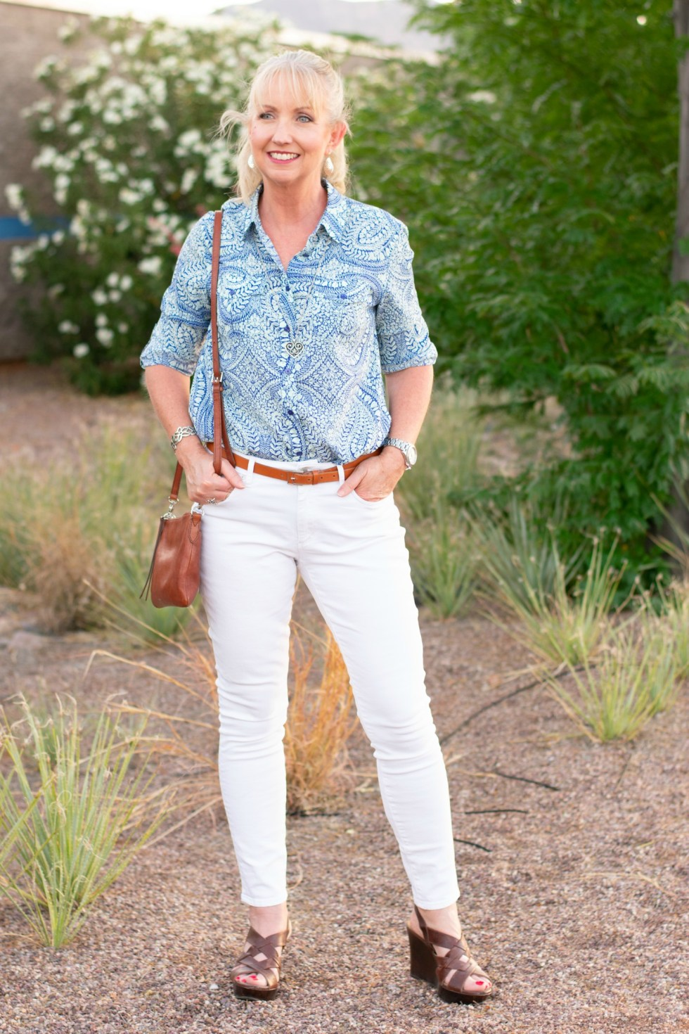 White Jeans Button Up Shirt