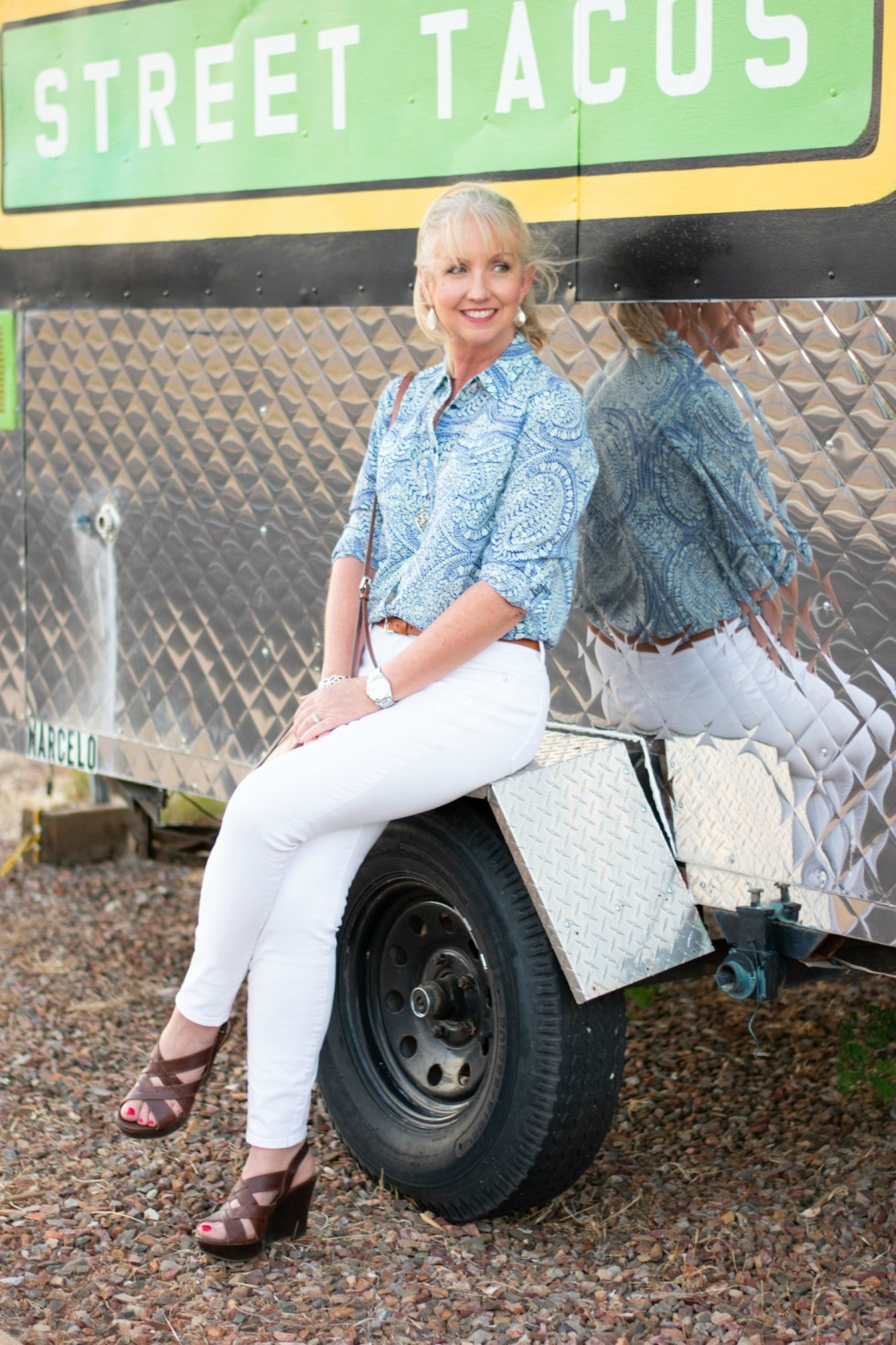 White Jeans Button Up Silky Shirt