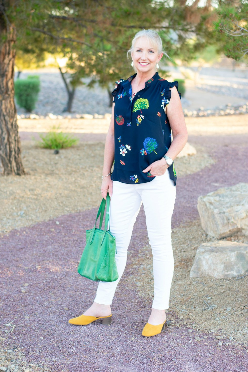 White Jeans Hummingbird Shirt