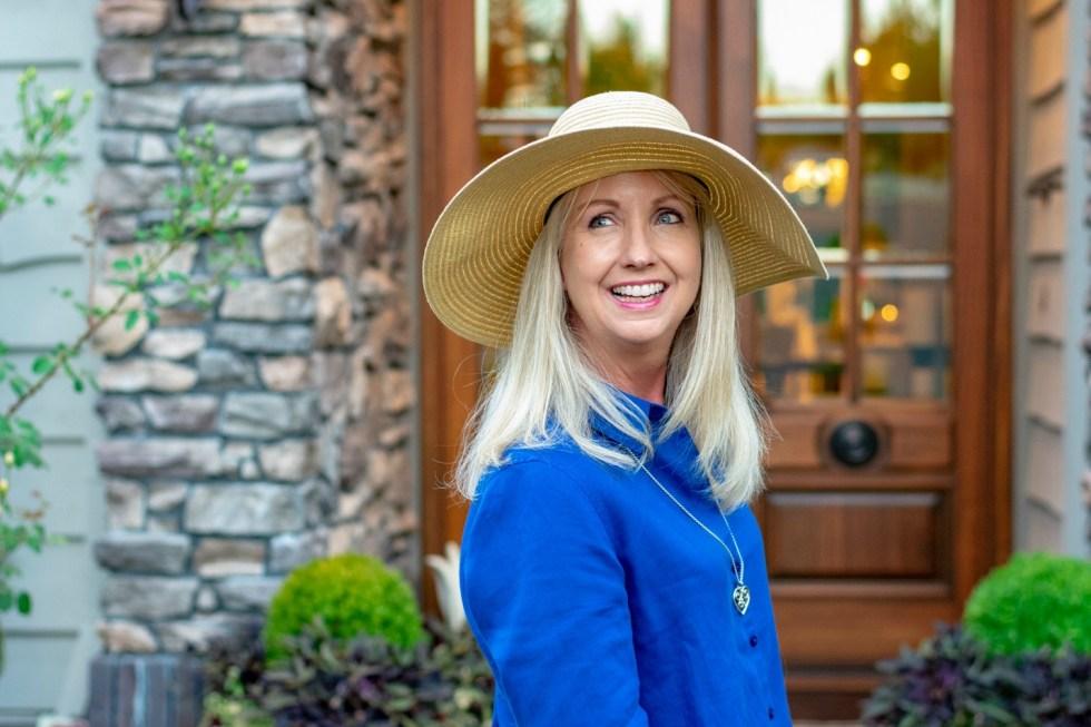 Blue Linen & Wide Brimmed Hat