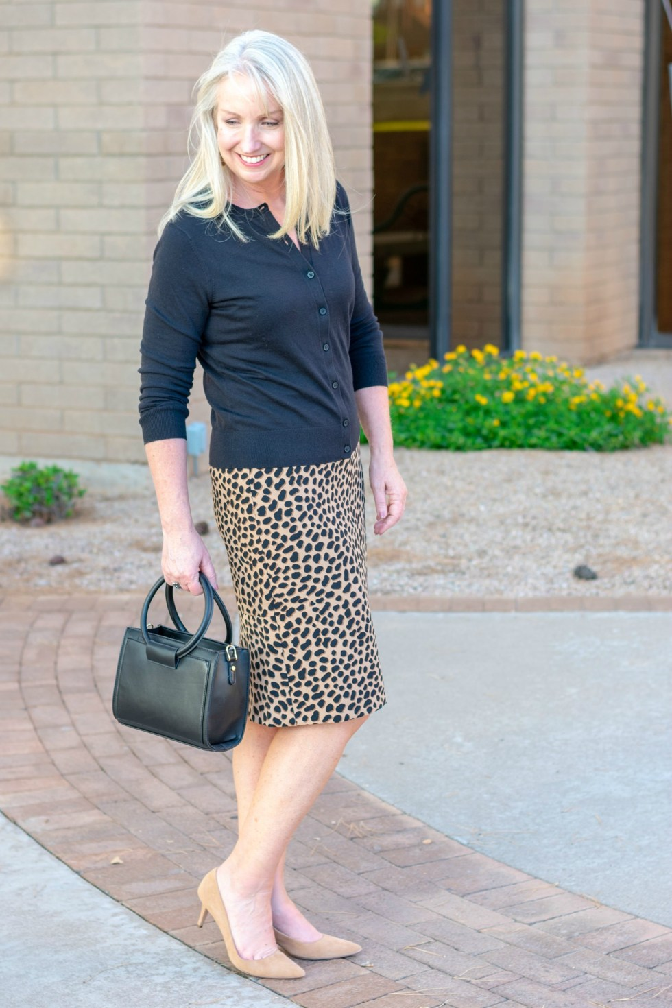 Cheetah Print Skirt and Cardigan