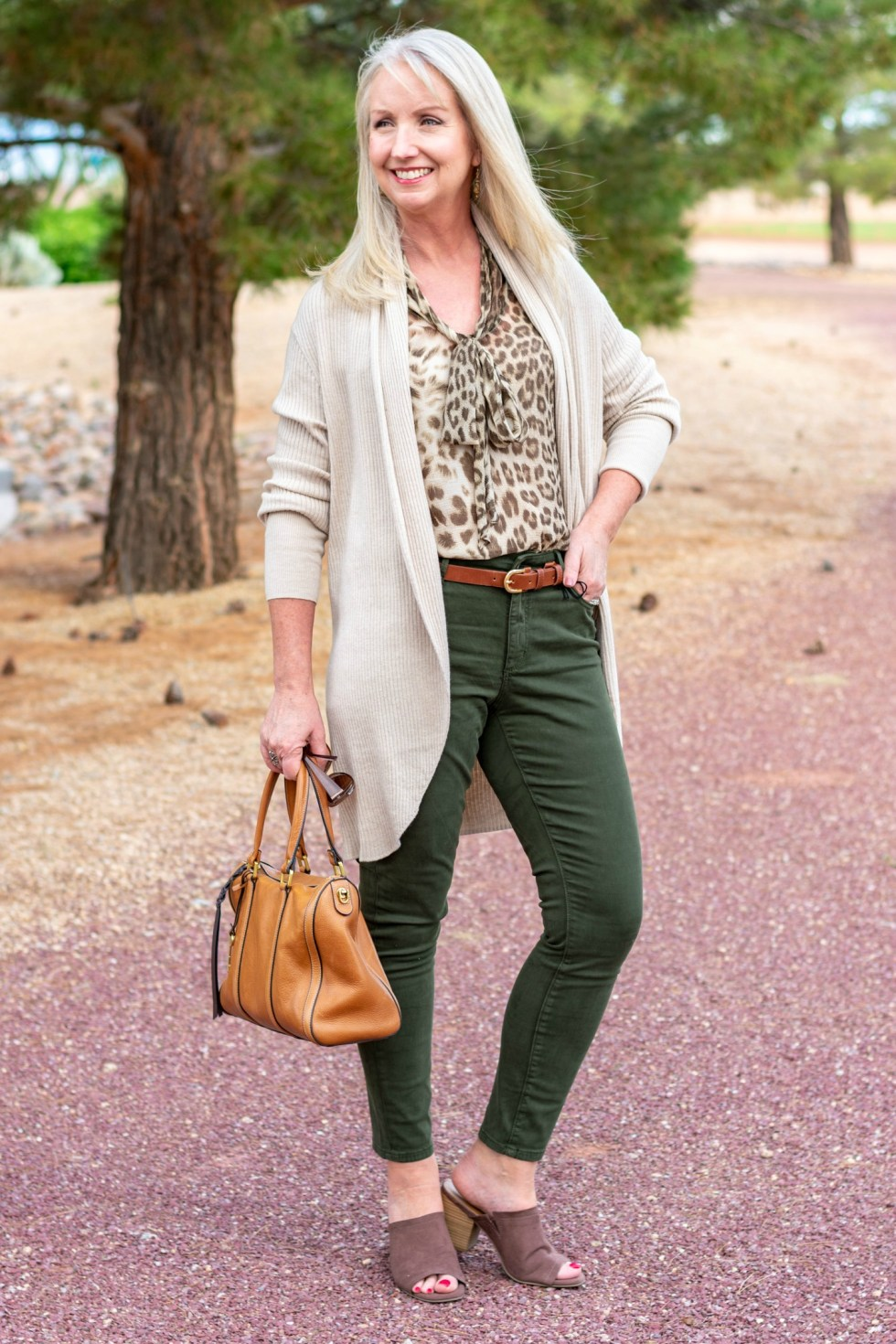 Colored Jeans and Leopard Print Blouse 2