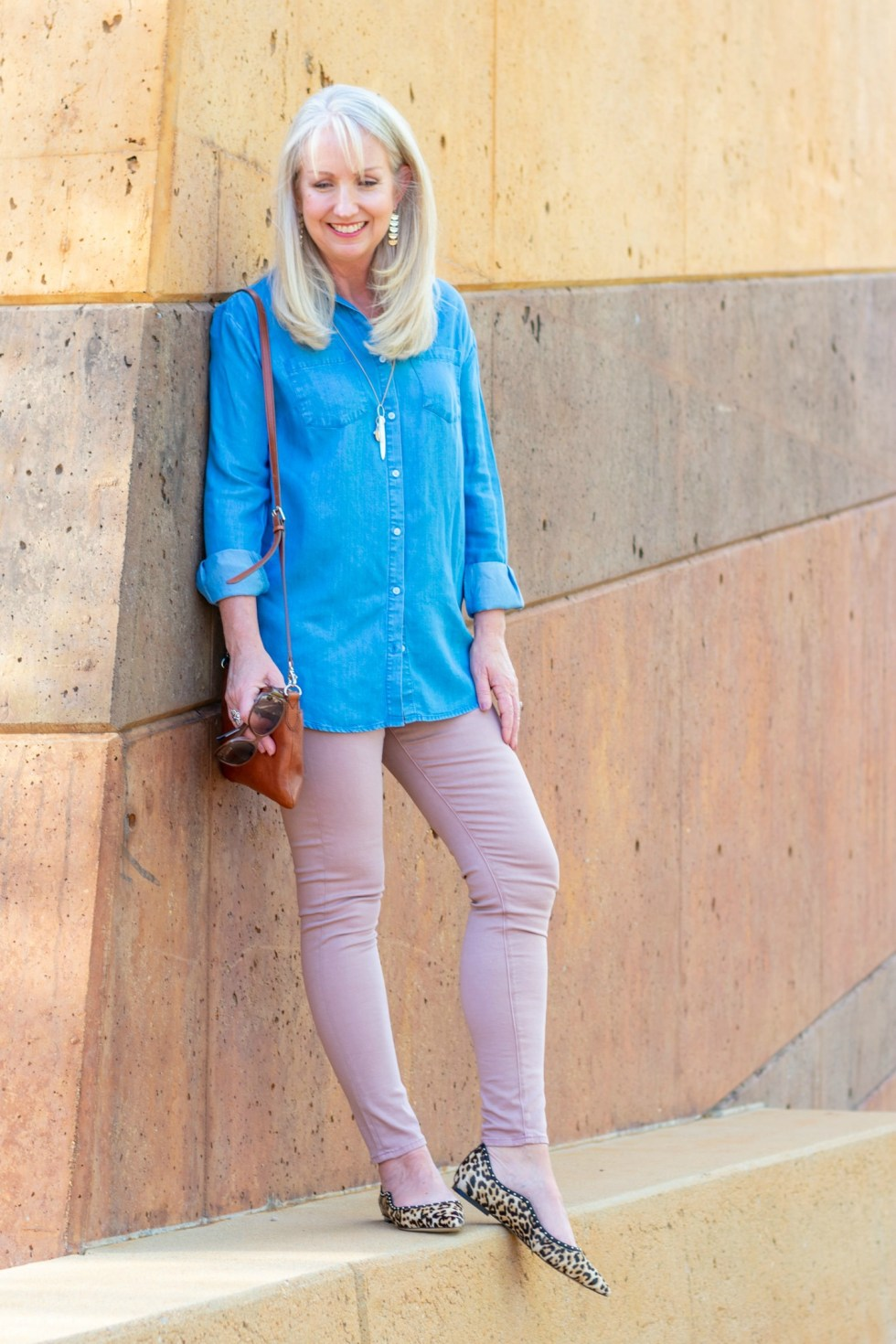 Pale Pink Jeans with Denim Shirt