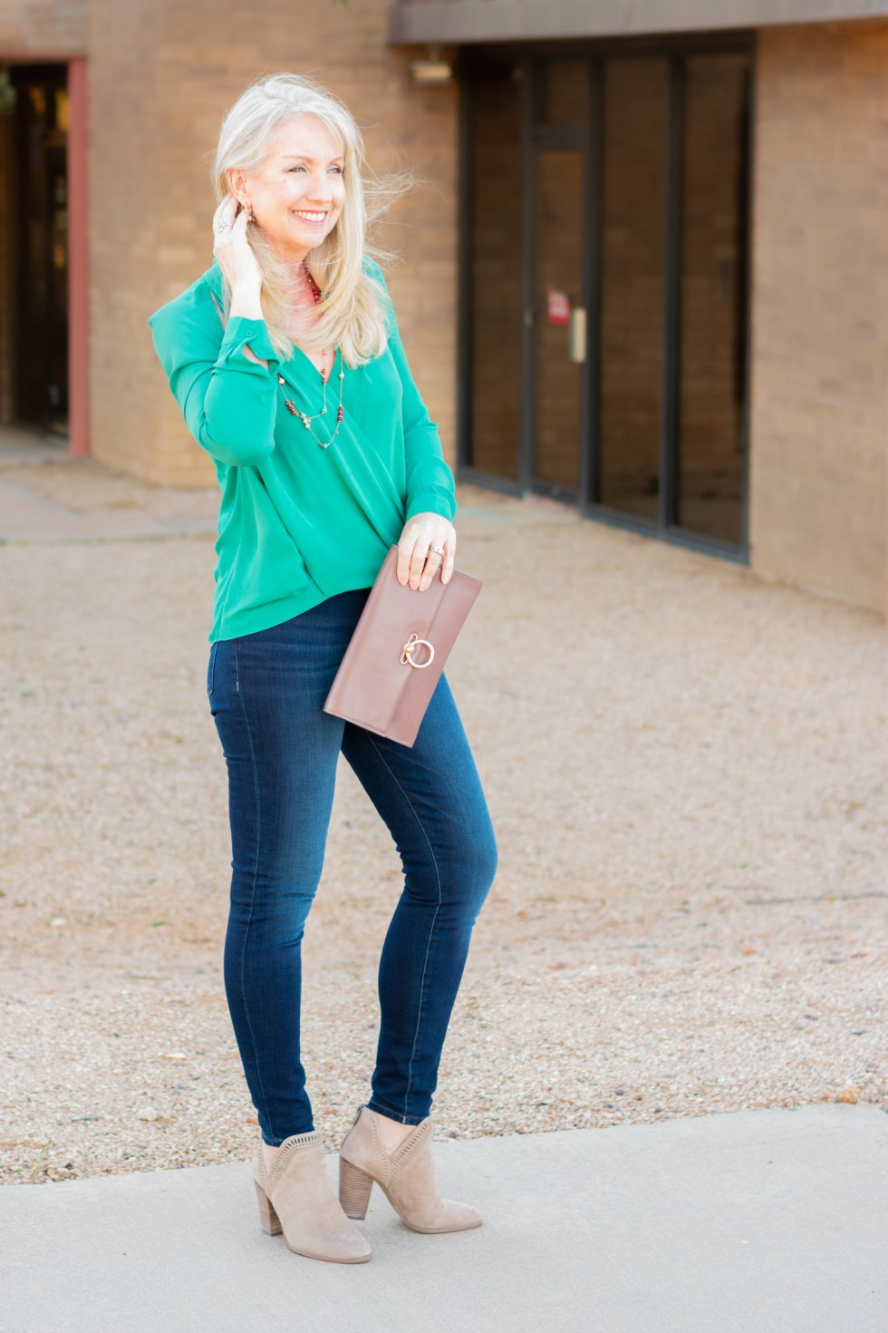 Cutout Surplice Top + Skinny Jeans for casual date night