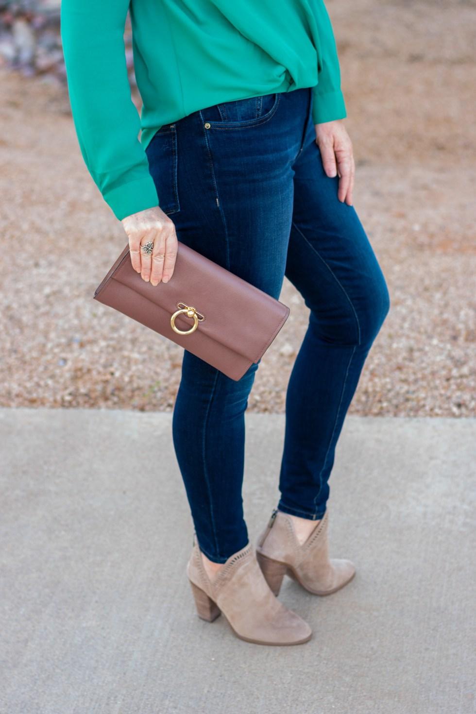 Cutout Surplice Top + Skinny Jeans