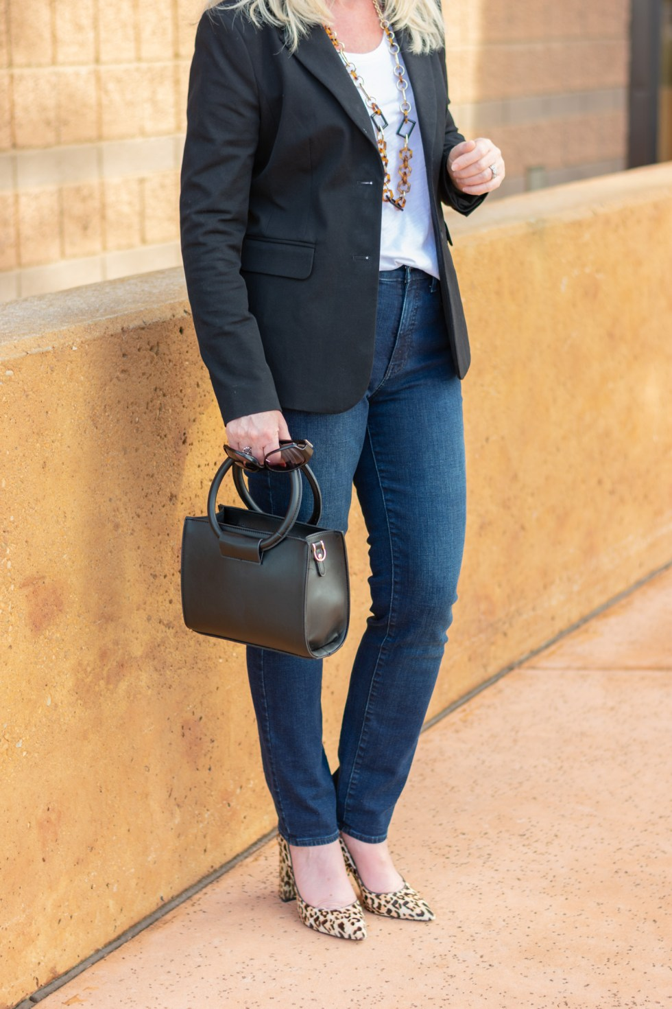How to Style a Basic Black Blazer with a T-Shirt and Jeans
