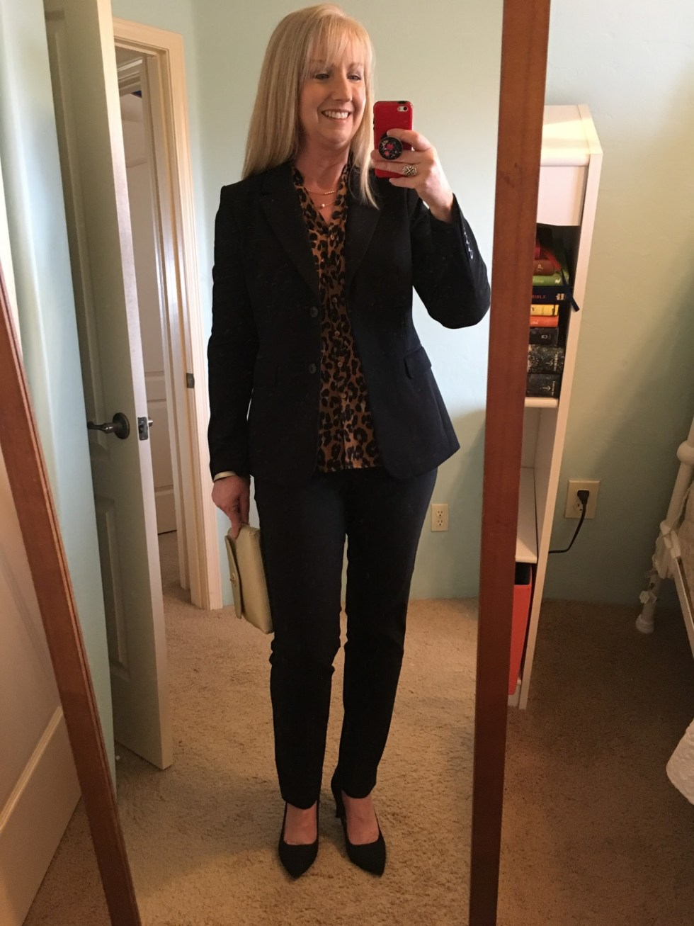 Black Blazer with Animal Print