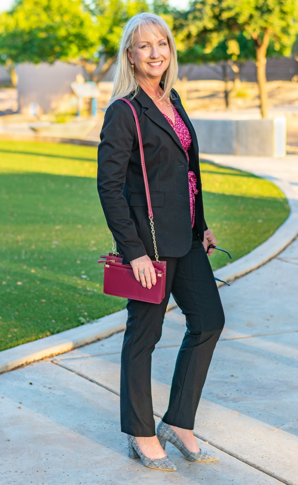Black Blazer with Pink Wrap Top