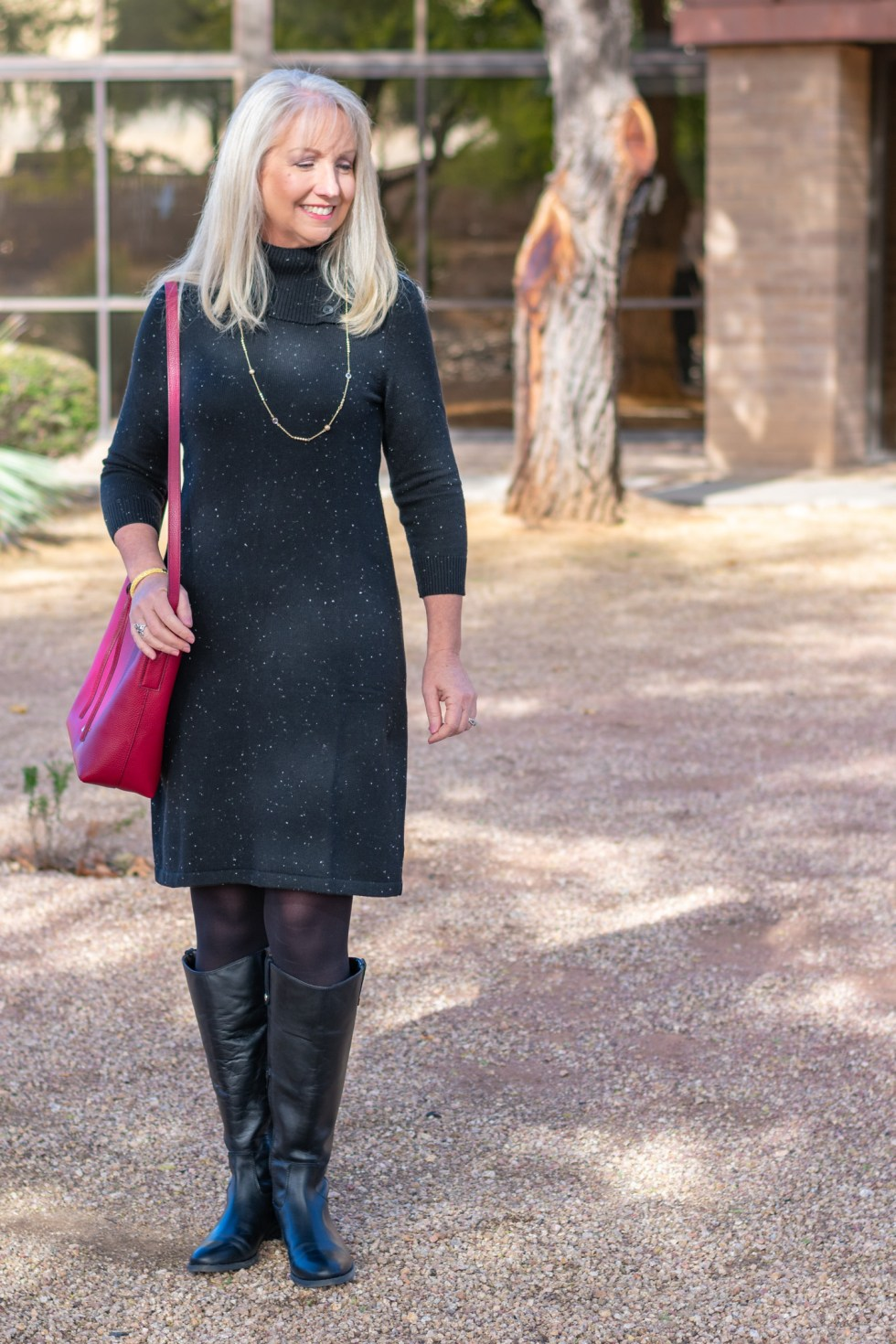 black riding boots with a dress