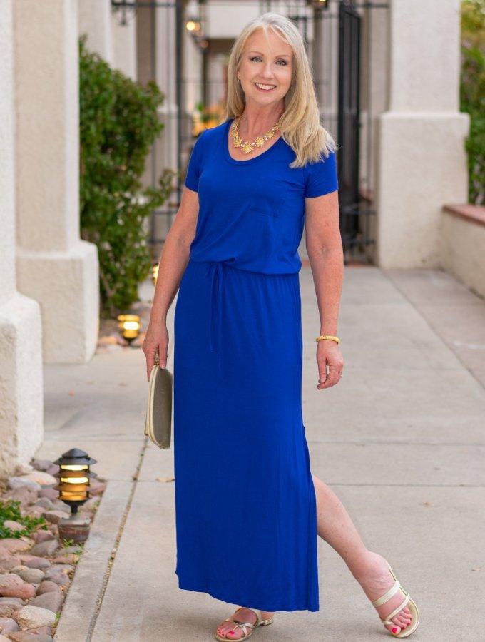 Princess blue maxi dress for date night