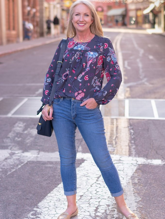 White Denim Jacket and floral Top