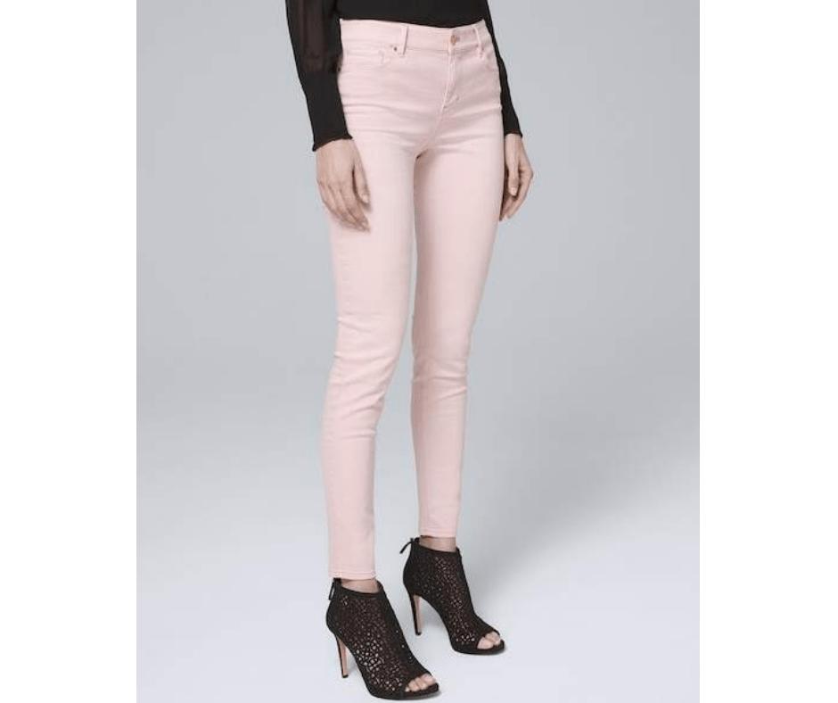April Favorites - mid-rise skinny ankle jeans in goddess pink