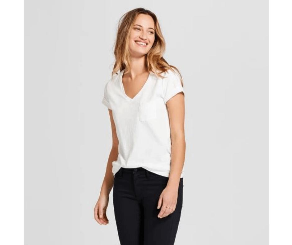 April Favorites - short sleeve v-neck t-shirt in white