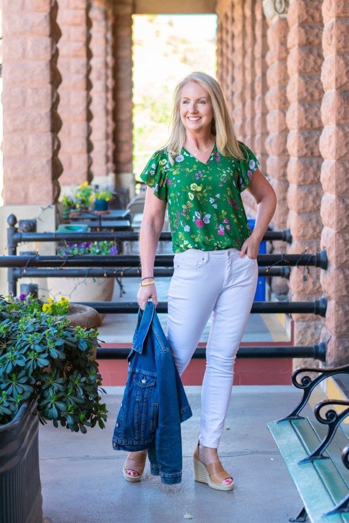 Spring Floral Top with White Jeans