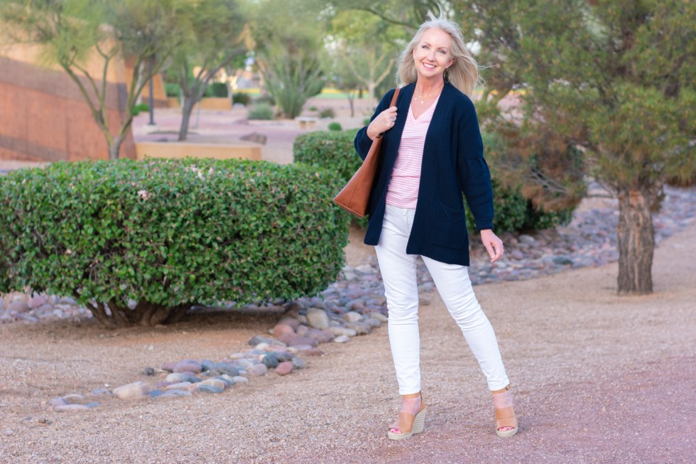 Summer Cardigan with White Jeans and Tee