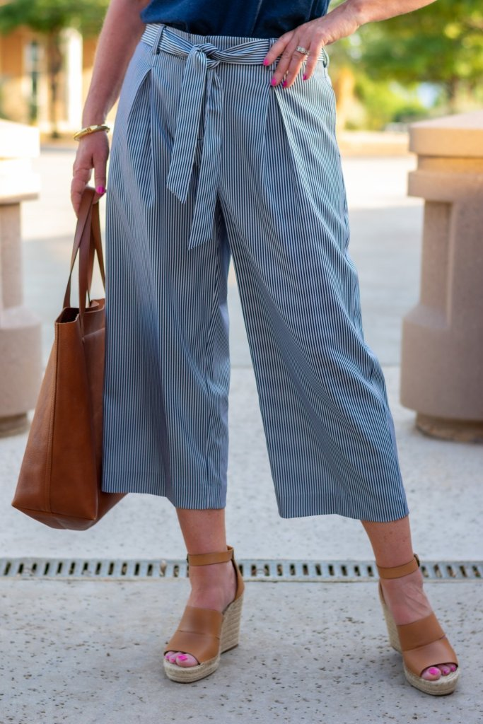 Navy and white striped wide leg crop pants