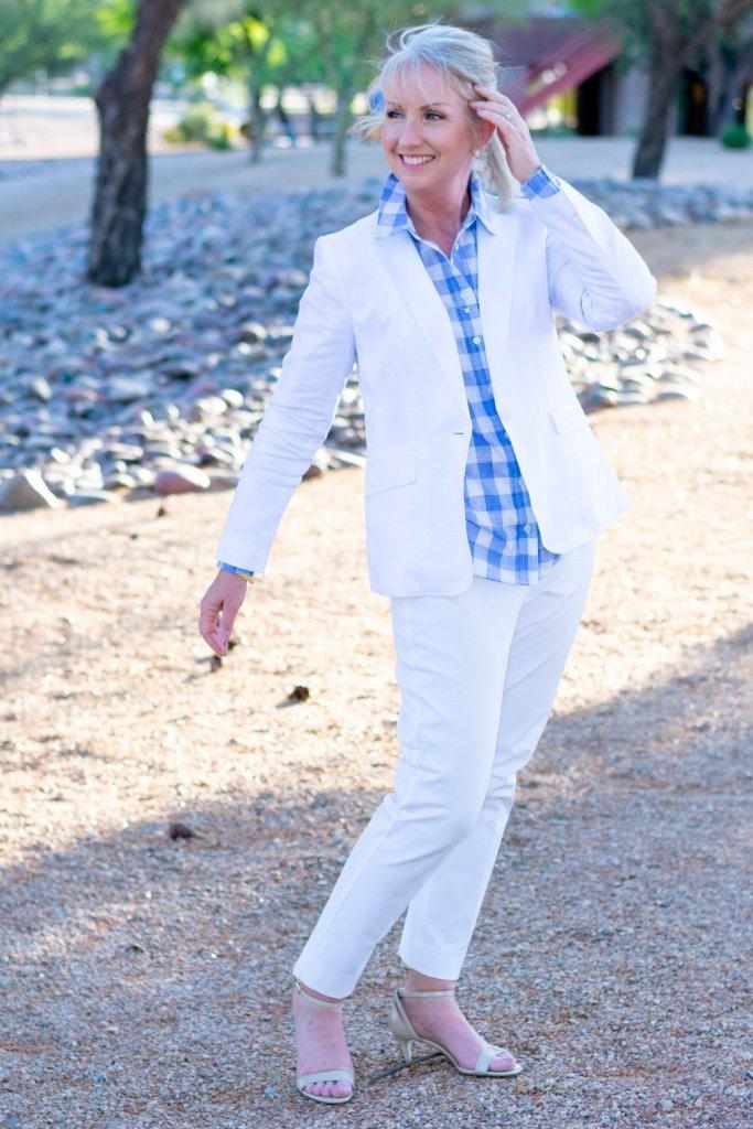 white blazer with white slacks and fun shirt