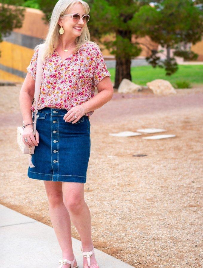 Denim Skirt + Floral Print Top for Summer