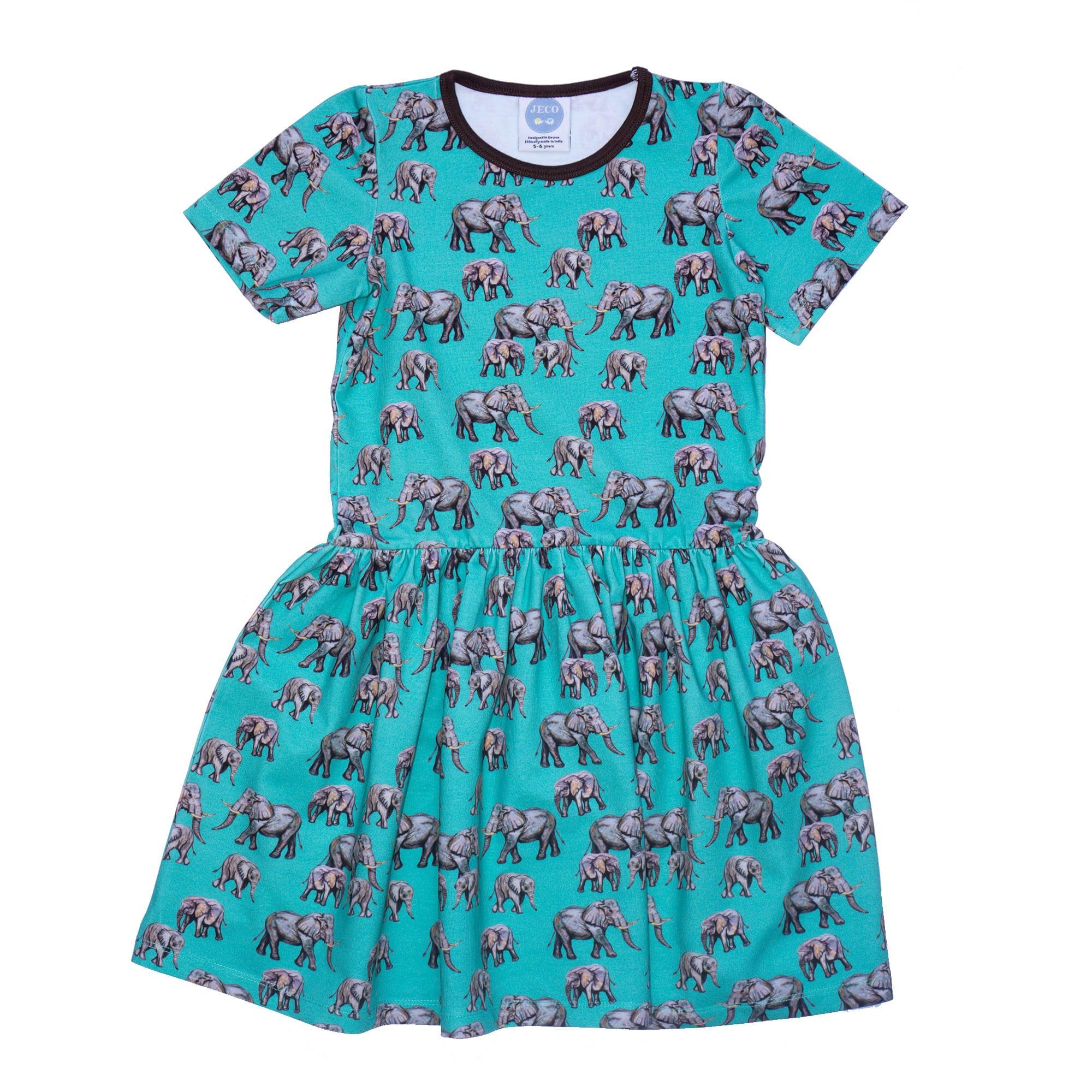 Aqua Elephant Dress