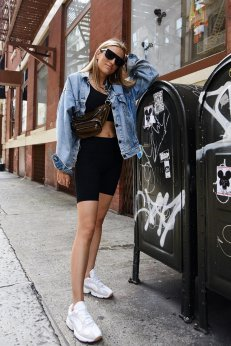 Adrianaonline.com @lisadnyc Rocking The In-between Season Look! #streetstyle #summeroutfits #fannypack #alexanderwang #outfits