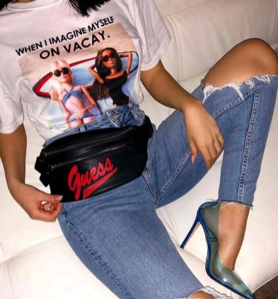 #vacation #barbie #guess #fannypack #heels #ootd #womensfashion